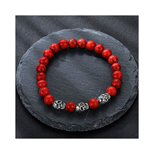 us Glasperlen, Men's Bracelet Volcanic Stone Natural Beads Skeleton Skull Men's Ladies Punk Bracelet Personality Pulseira Masculina red Stone ()