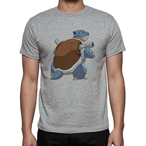 Pokemon Blastoise Water Turtle Looking Brown Herren T-Shirt Grau