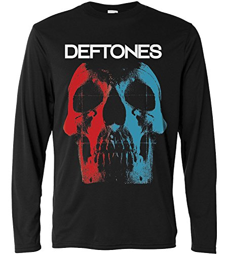 T-shirt a manica lunga Uomo - Deftones - Skull Logo - Long Sleeve 100% cotone LaMAGLIERIA, XL, Nero