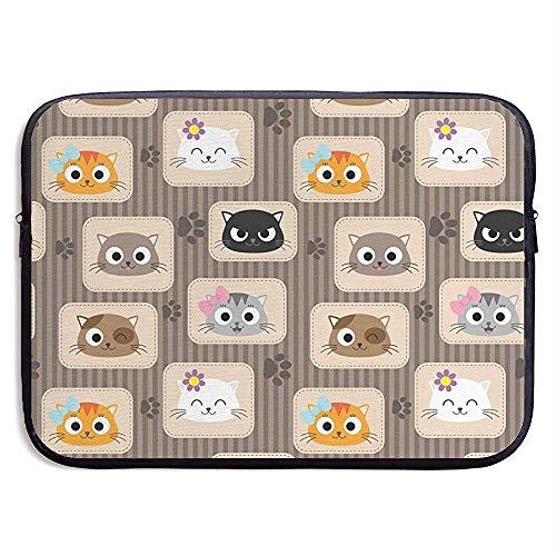Patchwork-inspirierte Muster-entzückende Miezekatze-Laptop-Hülsen-Tasche Tragbare Reißverschluss-Laptop-Tasche Tablet-Tasche -