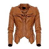 Mayaadi Damen Biker-Jacke stylische kurze Übergangsjacke in Leder-Optik WS-930 Camel XL
