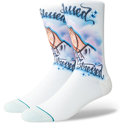 Stance Airbrush Blessed Crew Socks - Blue Large (Stores Crew Clothing)