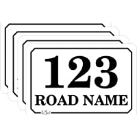 Custom Personalised Printed Wheelie Bin Number Stickers with Road and Street Name - A5 Vinyl Waste Container Decals - 4 pack