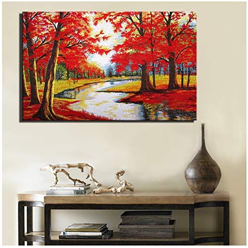 LIYANGFBH Rote Farbe Moderne Baumgemälde Druck Auf Leinwand Ungerahmt Abstrakt Ahornbaum Wohnkultur Leinwand Für Wohnzimmer Wand-70x100 cm Kein Rahmen
