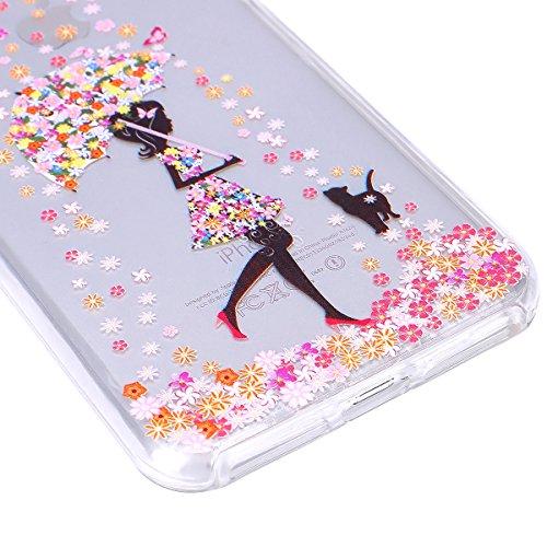 iPhone 7 Plus Hülle,SainCat iPhone 7 Plus Silikon Hülle Ultradünn Weich Transparent Plastik Handyhülle Gel Combo Schutzhülle [Kratzfeste, Scratch-Resistant] Ultra Slim Dünn Kristall Handytasche Weich  Unterstützung Regenschirm Mädchen