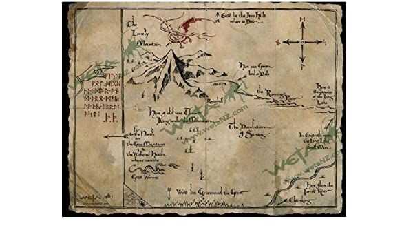 image relating to Weta Uk Printable Schedule titled Thorin`s Map Artwork Print in opposition to The Hobbit An Unanticipated Trip