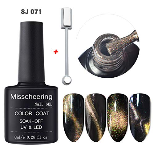 Upxiang Nagellack, Polieren 5D Nagel Gel Magnet Magic Cat Eye Gel Nail Art UV LED Gel Magnet Scheibe...