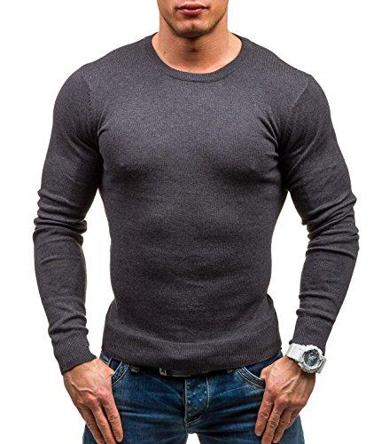 BOLF Herrenpullover Pulli Sweatshirt Sweatjacke Sweater Rundhalsausschnitt GLO-STORY 1808 Anthrazit