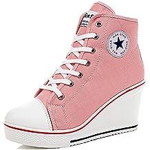 449730477 Wealsex Mujer Cuñas Zapatos De Lona High-Top Zapatos Casuales Encaje Talla  Grande ...