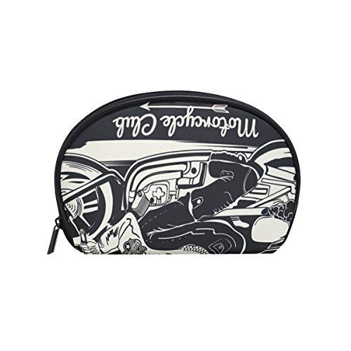 COOSUN Skull Rider auf klassisches Motorrad-kosmetische Beutel-Kupplungs-Verfassungs-Beutel-Spielraum-Organisator-Fall-Kulturbeutel für Klein Mehrfarbig