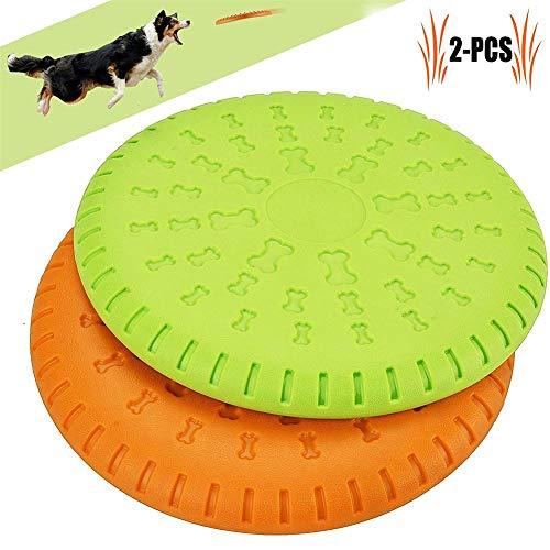 (IW.HLMF 2 Pcs Dog Flying Disc, Large Dog Flying Disc Pack Tough Rubeer Multifunction Dog Flying Disc Toys Strong Pet Training Toys for Medium and Large Dogs Blue and Red 9 inch)