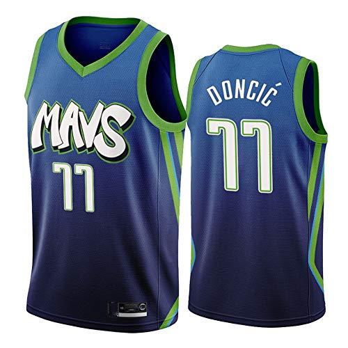 Herren-Basketball-Jersey - NBA Dallas Mavericks # 77 Luka Doncic Breathärmel Retro-Sport-T-Shirts,XL(185CM/85~95Kg)