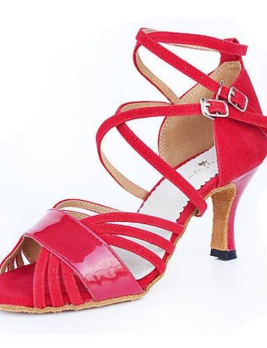 La mode moderne Sandales Chaussures de danse pour femmes personnalisable Flocage Flocage Flared Heel Sandals Latin débutant pratique intérieur extérieur professionnel rouge Performance US4-4.5 / EU34 / UK2-2.5 / CN33