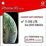 Apple iPhone XS (Silber) 64GB Speicher Handy mit Vertrag (Vodafone Smart XL) 11GB Datenvolumen 24 Monate Mindestlaufzeit