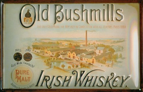 old-bushmills-distillerie-relief-3d-en-metal-vintage-inscription