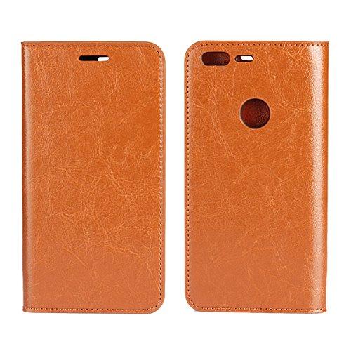 covercase Crazy Horse Muster Echt Leder Brieftasche Hülle Case [Funktion] Flip Stand Cover mit Kartenschlitzen für Google Pixel (12,7cm) (Hellbraun) ()