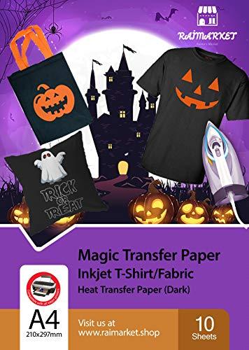 Ferro su carta per stoffa scuro (termoadesiva Paper) di Raimarket - 10 fogli A4 - Un ferro da stiro a getto d'inchiostro su carta / maglietta Trasferisce la stampa di tessuti fai da te