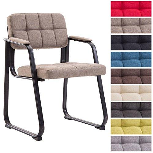 Clp sedia visitatore canada b in tessuto - sedia attesa imbottita con schienale e braccioli i sedia conferenza con telaio in metallo opaco - sedia ufficio per riunioni tortora metallo nero opaco
