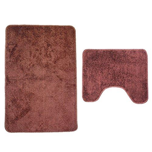 Nopea Badezimmer Matte Solid Color Toiletten-Matte Bad Antirutsch matten Badezimmer Teppich Set Zwei Sets Rutschfest Matte 50*60 und 50*80cm Kaffee