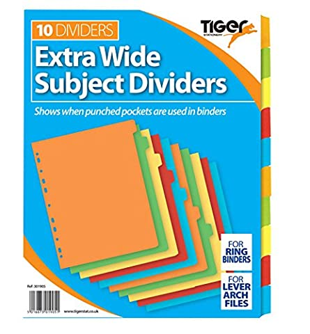 2 packs of 10 A4 Extra Wide Subject Dividers Part Card Dividers. 20 cards in total.