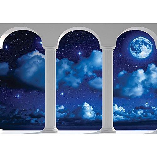 Vlies Fototapete PREMIUM PLUS Wand Foto Tapete Wand Bild Vliestapete - Nacht Himmel Mond Sterne Wolken Bogen - no. 2123, Größe:312x219cm Vlies (Himmel Wolken Und)