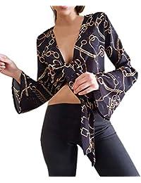 Blusa de Moda para Mujer, ❤URIBAKY Sexy Impresa con Cordones, Camiseta Corta,