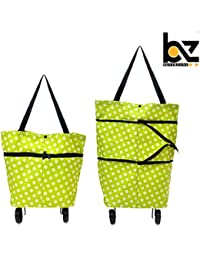 BUYERZONE WITH BZ LOGO Fabric Satin Wheel Folding Travel Luggage Bag