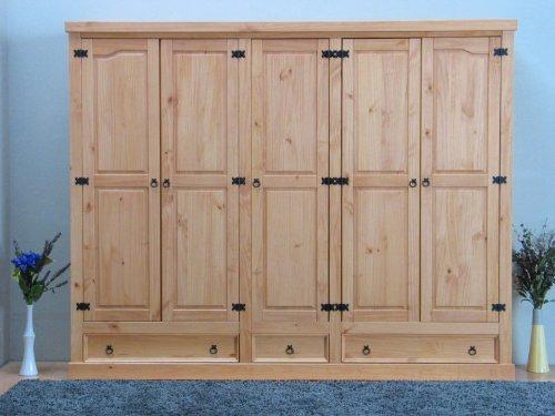 dynamic24 5trg Kiefer Mexico Kleiderschrank New Mexiko massiv Schlafzimmer Schrank natur
