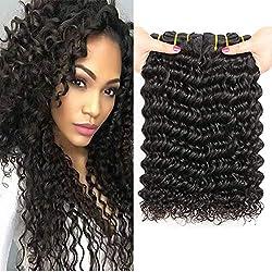 PF Hair Brésiliens Vierges Vague Profonde de Cheveux Bouclés 3 Trames 300 grammes 8 10 12 Pouces 100% Non Transformés Cheveux Humains Naturels Deep Boucle Tissage Bresilien Naturel Noir Couleur