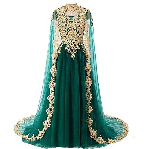 Cloverbridal Vintage Lang Abendkleider Ballkleider mit Golden Spitze Applikation Brautkleider mit Cape Smaragdgrün 46