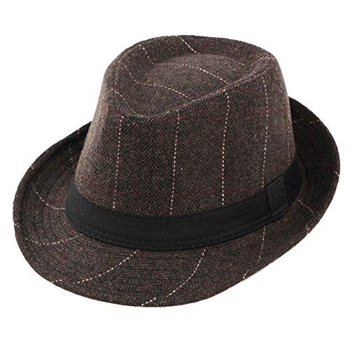 Jazz Trilby Fedora Hüte Männer Plaid Herbst Winter Filz Hut, Multi-Farbe (Plaid Herren Fedora)