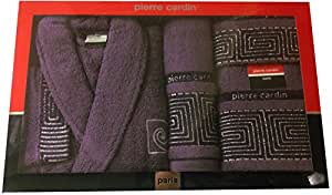 M / L Aubergine Maze Pierre Cardin 4 Piece Bathrobe & Towel Set, Jacquard Purple Berry Silver Sparkle - 100% Cotton Designer Bathrobe, Guest Towel, Bath Towel, Bath Sheet by Pierre Cardin