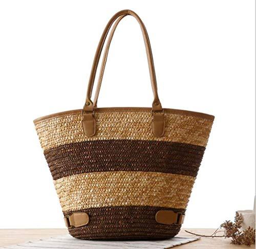 Frauen Handtasche Schultertasche Europäischen Und Amerikanischen Stil Einfache Stroh Tasche PU, Streifen Große Kapazität Woven Bag Strandtasche Knödel Typ frauen Umhängetasche Umhängetasche für Outdoo