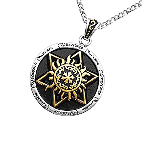 MagiDeal Stainless Steel Gothic Hexagram Pendant Traditional Seal of Solomon Necklace Gold