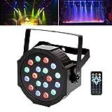UKing Par LED Scheinwerfer, Bühnenlicht 18 * 1W LEDs RGB Fernbedienung/Auto/Stimme/DMX Steuerung Party Show Lichter für Disco DJ Bar Club Party Hochzeit Halloween Weihnachten
