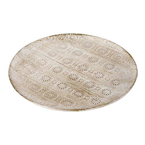 Schale Dekoteller Metall Teller gemustert beige creme Vintage Look Servierplatte (creme, L)