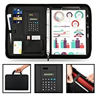 Conference Folder A4 Zipped Magnetic Handle, 2-layers Large Pocket PU Leather Case Business Padfolio Portfolio Folder with Ring Binder,Calculator,10 File Pockets,Clipboard,Notepad for Interview