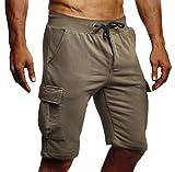 LEIF NELSON Herren Männer Jungen Sommer Kurze Biker Jogger 3/4 Hose Shorts Jeanshose Chinos Cargo Bermuda Basic 5-Pocket Sporthose Freizeithose Denim Slim Fit LN8205; Large; Khaki