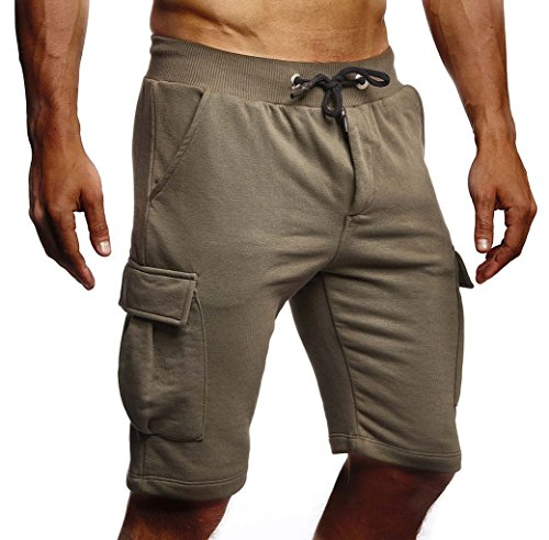 LEIF NELSON Herren Männer Jungen Sommer Kurze Biker Jogger 3/4 Hose Shorts Jeanshose Chinos Cargo Bermuda Basic 5-Pocket Sporthose Freizeithose Denim Slim Fit LN8205; Medium; Khaki (Denim-shorts Khaki)