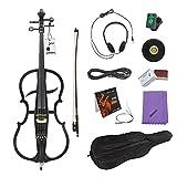 Ammoon 4/4 elektrisches Cello aus massivem Holz, Ebenholz-Fittings, Stil 1, mit Stimmgerät, Kopfhörer, Tasche