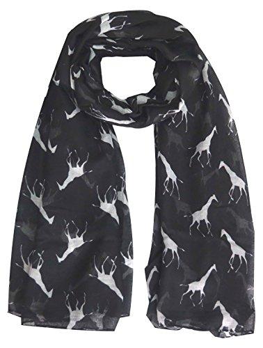 Lina & Lily Écharpe Foulard pour Femme Imprimé Girafe Noir