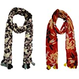 #9: Rakshabandhan Special Dream Fashion Combo Pack Of 2 Poly cotton Printed Tassel Scarf, Stole For Women's, Girl's (combo2pcsmynk1