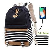 Damen Rucksack 15.6 Zoll Notebook USB Backpack Jugendliche Mädchen Schulrucksack Teenager Girls Casual Canvas Laptop Daypacks (1-Schwarz)
