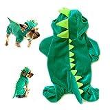 Yunt Kostuem Pluesch-Dinosaurier-Entwurf Haustier Hund Bekleidung Jumpsuit Gruen(Large)
