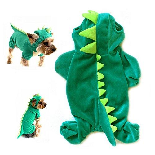 Yunt Kostuem Pluesch-Dinosaurier-Entwurf Haustier Hund Bekleidung Jumpsuit (Kostüme Dinosaurier Hund Grün)