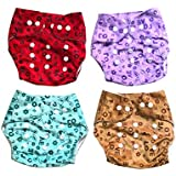 Chinmay Kids High Quality Reusable & Washable Button Diapers With Pockets - One Size Adjustable Diaper Pants For Toddlers & Infants (Pack Of 4) Red/Blue/Purple/Brown
