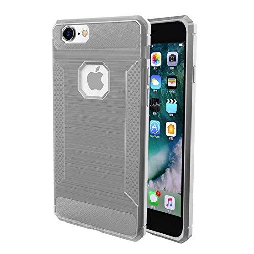 GR iPhone 6 Plus & 6s Plus TPU gebürsteter Carbon Fiber Texture Shockproof Schutzhülle ( Color : Purple ) Silver