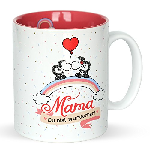 """Sheepworld 45233 Tasse mit Motivdekor \""""Mama - Ich  hab Dich lieb! Du bist wunderbar!\"""", Geschenktasse aus Steinzeug, 35 cl"""
