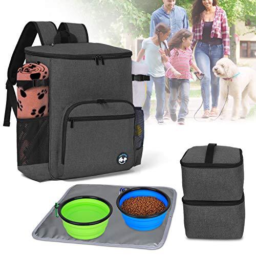 Teamoy Reisetasche für die Aufbewahrung von Hunde Artikel, Haustierenrucksäcke für die Mitnahme von Tiernahrung, Leckereien, Spielzeug und andere wichtige Dinge, ideal für Reisen oder Camping, Schwarz