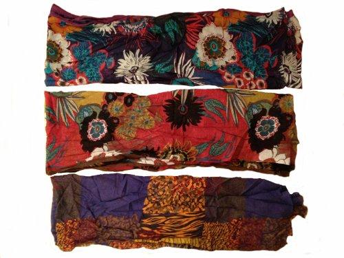 Vexcon Trendy Damen Schal bemustert mit Punkten und Streifen, Farbe blaubeer/orange/cranberry, 70 cm x 160 cm, 100% Baumwolle -
